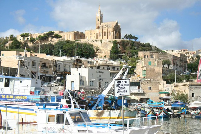 View of Mgarr during the arrival of the ferry to the island of Gozo in Malta