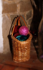 Basket of baubles in the fireplace