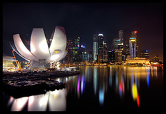 City lights pt.7 (Tuomas_Lehtinen) Tags: city travel light urban reflection art water skyline museum architecture modern night digital skyscraper marina canon river dark outdoors eos rebel evening bay singapore asia downtown cityscape view angle dusk south wide sigma nobody science east cbd 1020mm hdr xti 400d platinumheartaward earthasia doublyniceshot doubleniceshot tripleniceshot mygearandme mygearandmepremium mygearandmebronze mygearandmesilver mygearandmegold mygearandmeplatinum artistoftheyearlevel4 artistoftheyearlevel5 artistoftheyearlevel7 artistoftheyearlevel6