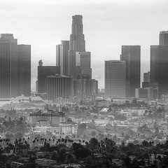 City in Gray (magnetic lobster) Tags: blackandwhite skyline losangeles downtown hdr marinelayer