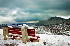 Hot Coffe and a good view! My day off. (Catalin Palosanu) Tags: city winter mountain snow clouds canon bench december brasov uvfilter poianabrasov outstandingromanianphotographers
