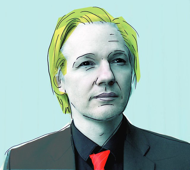 Drawing/picture of Julian Assange