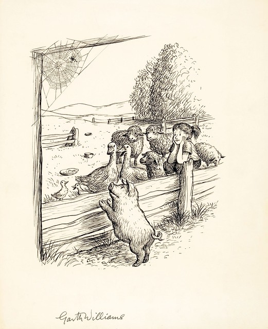 drawing of piglet leaning on fence with farm animals and girl on other side