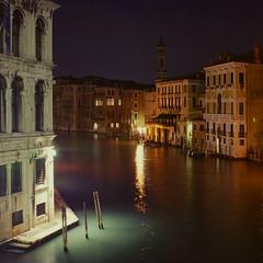 Misty waters (Alex Dram) Tags: trip venice light italy water misty night vintage square canal retro d80 alexdram