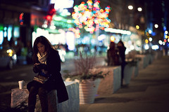 . (thericyip.com) Tags: street nyc newyorkcity winter light girl night holidays bokeh cinematic 169 canoneos5d canon85mmf12lmarkii