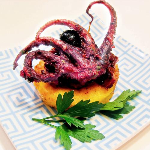 Wine-Braised Baby Octopus with Saffron Polenta Cake