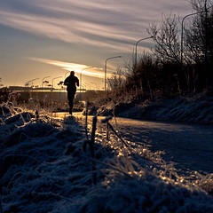 Into the sun. (Inglfur B) Tags: city winter sunset cloud sun snow cold grass silhouette clouds dark frozen photo frost dusk picture straw gras dust runner frosting mynd ogni blr dgun inglfur  hrm gni inglfurb ingolfurb bjargmundsson