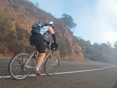 Nancy climbing Tunnel Road in the fog