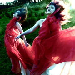 Flame of the Banshees (Helen Warner (airgarten)) Tags: ireland red two photography women dress flames fear fine arts hills helen warner haunting myths banshees burining airgarten helenwarnerphoto finartsohotography