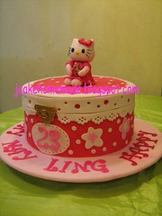 Hello Kitty Jewelry box cake (Jcakehomemade) Tags: white jessica redbox charactercake cartooncake kidcake hellokittybirthdaycake girlscake sanriohellokitty hellokittyjewelrybox jcakehomemade hellokittymusicbox maylingsbirthday hellokittywithteddybear birthdaycakered