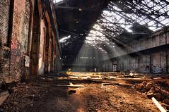 Shine Down (Amber M Williams) Tags: lighting abandoned broken pittsburgh pennsylvania bricks ceiling ambient rays furnace exploration steelmill