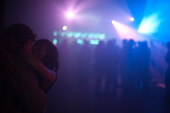 Don't Turn the Lights On (TGKW) Tags: boy portrait people woman man girl wall night kissing couple bokeh glasgow candid silhouettes arches nightclub dancefloor nightlife naive embrace intimate leaning 8739