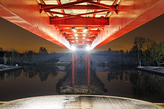 Underneath red bridge (CoffeeCypher) Tags: bridge red france rouge nikon axe pont iledefrance cergy valdoise majeur oise d5000