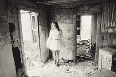 (yyellowbird) Tags: bw house abandoned girl southdakota ghost ghosttown okaton