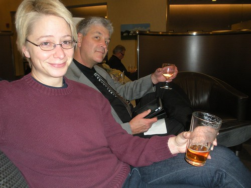 Sarah and John in the lounge at JFK