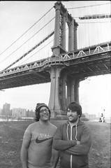 smiles. (xoazuree) Tags: new york blackandwhite ilfordhp5 brookylnbridge thewiitalabrothers