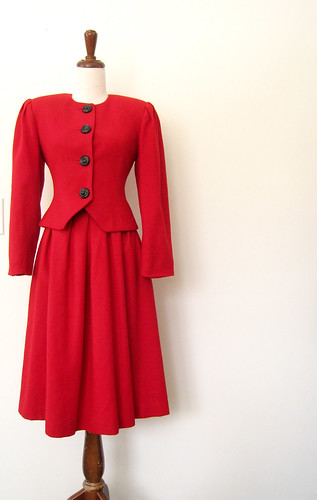 Candy Apple Wool Fitted Skirt Suit, Vintage 80's