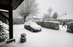 Snow Day ... (Rob Overcash Photography) Tags: street uk winter england snow storm home canon grey gloomy stuck atmosphere pedestrian mini surrey neighborhood driveway covered blanket passerby clubman inclementweather adverseconditions robotography 5dmkii robovercashphotography