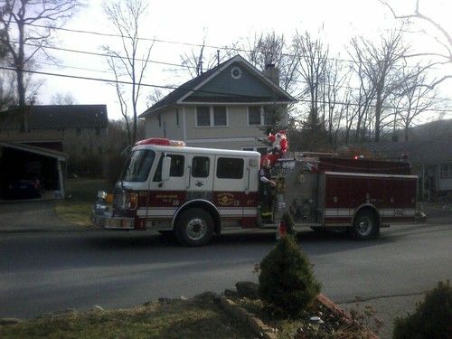 Santa Claus On A Fire Truck! Made My Day!