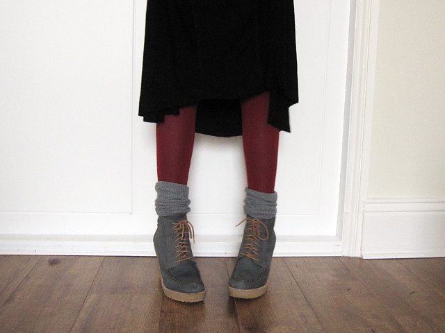 asos hiking boots and red tights