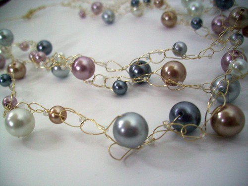 "Crochet ""Multicolor Pearls"" Necklace w/Gold Wire & Clasp"