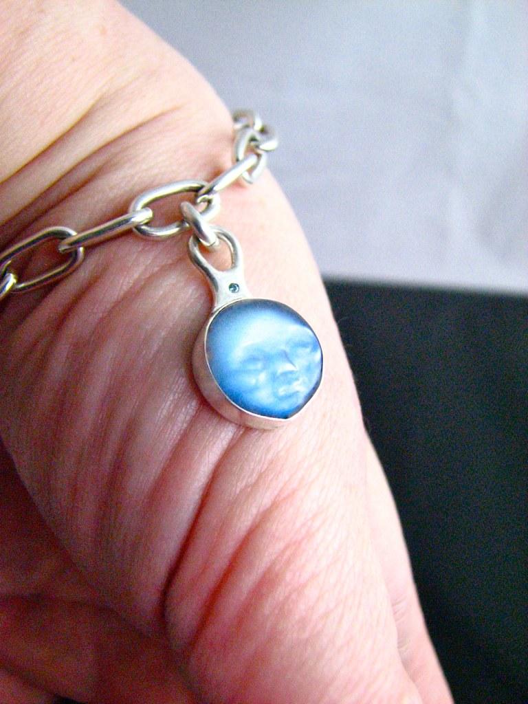 moonstone carving charm bracelet