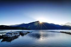 Sunrise of Sun Moon Lake (Vincent_Ting) Tags: sky lake reflection nature water clouds sunrise pier nikon explore