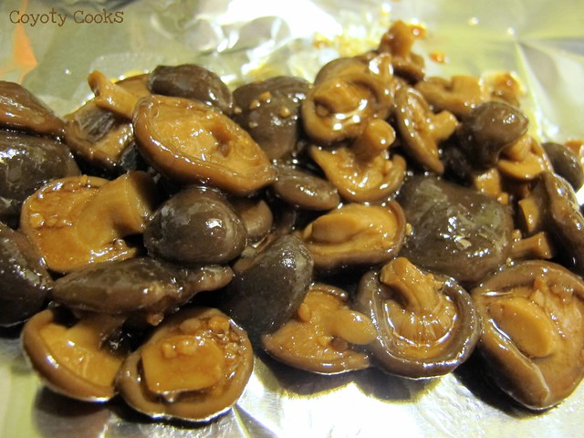 Balsamic tilapia 3: Coated shitake mushroom caps