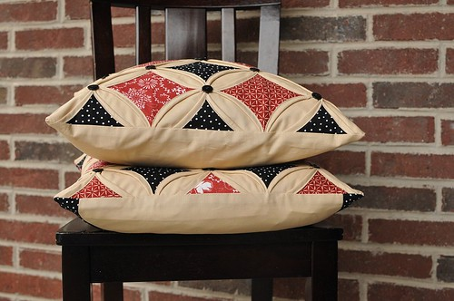 Cathedral windows pillow with buttons