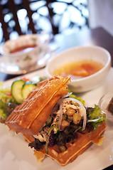 Waffle Lunch (Long Sleeper (busy!)) Tags: food cup vegetables japan lunch soup tokyo salad cafe beans tea kichijoji waffle dmcg1 teasalongclef