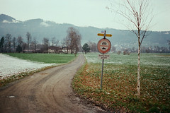 Zubringerdienst gestattet (Markus Moning) Tags: road mamiya film sign analog 35mm schweiz switzerland nc kodak strasse s professional direction schild valley 400 expired rheintal rhine riet 1000 supra wanderweg moning hinweis wegweiser balgach gestattet markusmoning wanderwegweiser nc1000s zubringerdienst rietach