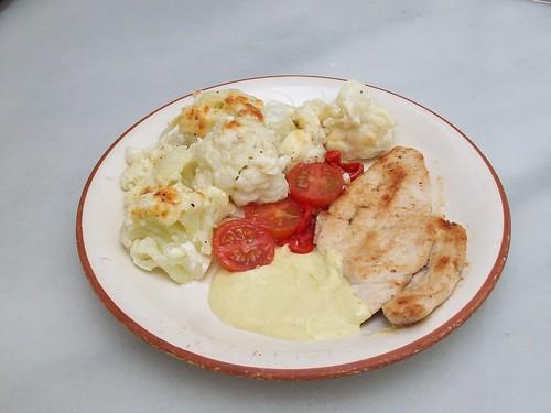 Pollo con salsa de puerros