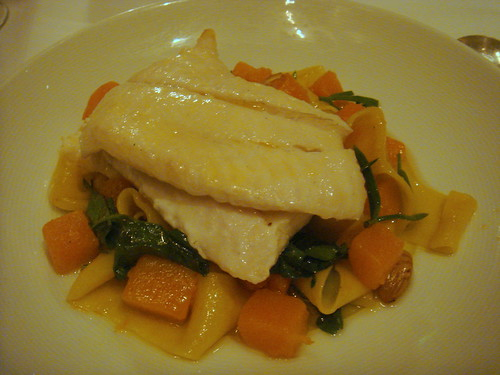 Fish (I forget which) with butternut squash, cobnuts and pappardelle
