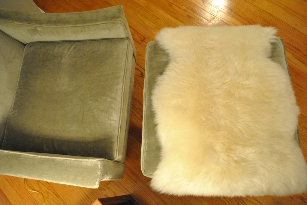 Living Room Chair and Ottoman with Rens Sheepskin Rug from IKEA