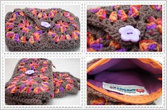 Granny Square Purse-tile (Anzouya) Tags: crochet yarn fabric cotton purse zipper grannysquares acryilic