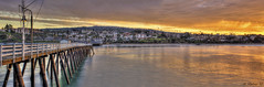 Sunrise at the SC Pier (Didenze) Tags: panorama sunrise golden pier perspective hills explore coastline sanclemente frontpage hdr parquedelmar hdrspotting