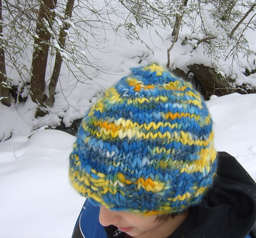 Happy Hat in blues and yellows