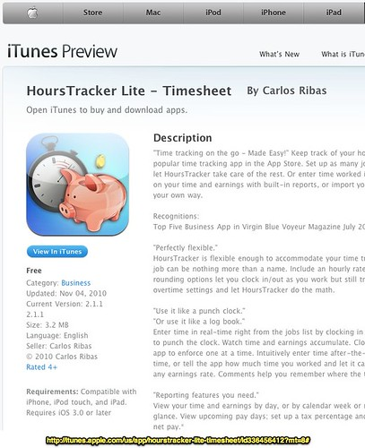 HoursTracker Lite - Timesheet for iPhone, iPod touch, and iPad on the iTunes App Store