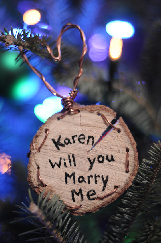 Dave's Marriage Proposal Ornament for Karen