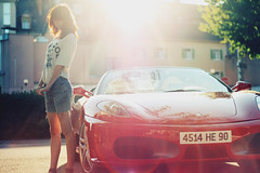 Hot Car And Hotter Chick ( Sheriff Nasir ) Tags: light red summer orange france sexy ferrari flare denim