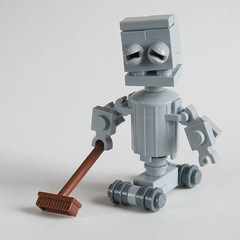 Clyde Clunk-bot (ted @ndes) Tags: trash robot lego chibi mini can system clean broom bot janitor moc