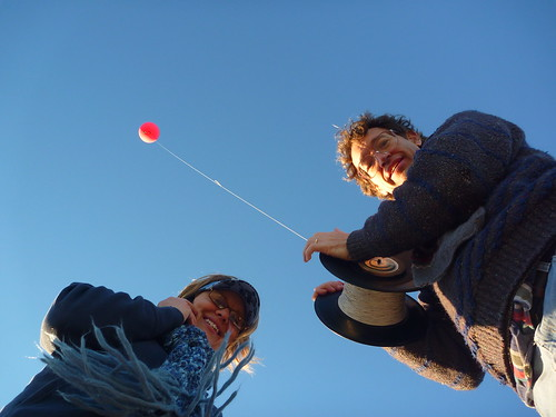 Prof Dawn McKinney & Prof Leo Danton & a red balloon