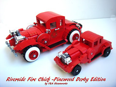 Riverside Fire Chief Pinewood Derby Edition 2 (V&A Steamworks) Tags: auto red car fire miniature lego chief va scouts steamworks department derby pinewood bsa moc