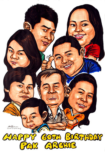 family caricatures in colour