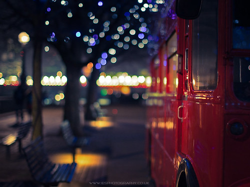 London Red Bus Bokeh