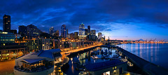Alaskan Way - Seattle (Sebastian (sibbiblue)) Tags: seattle panorama usa skyline nikon waterfront stiched alaskanway stiching nikond40