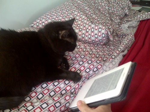 Maunzy loves reading her Kindle