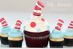 Dr. Seuss cupcakes (dnicely) Tags: birthday blue red party hat cake cat dessert cupcakes chocolate birthdayparty cupcake vanilla dots drseuss catinthehat vanillabean vanillafrosting chocolatecupcakes drseussparty themedcupcakes partycupcakes drseusscupcakes fondanthat catinthehatparty fondantcatinthehat
