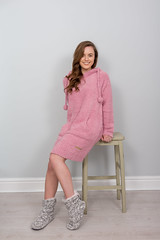 Layla - Boucle Hoodie Dress - Dusky Pink (Bedroom Athletics) Tags: womens layla boucle hoodie dress dusky pink by bedroom athletics relaxed fit front pouch pocket pom drawstring hood branded suede logo patch warm buy lovely lady woman warmth lush nice gift new comfy cosy indoors chillout fur faux designer custom made special fabric comfortable