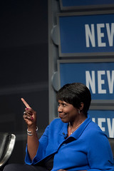 """PBS NewsHour"" anchor Gwen Ifill reacts during the discussion."